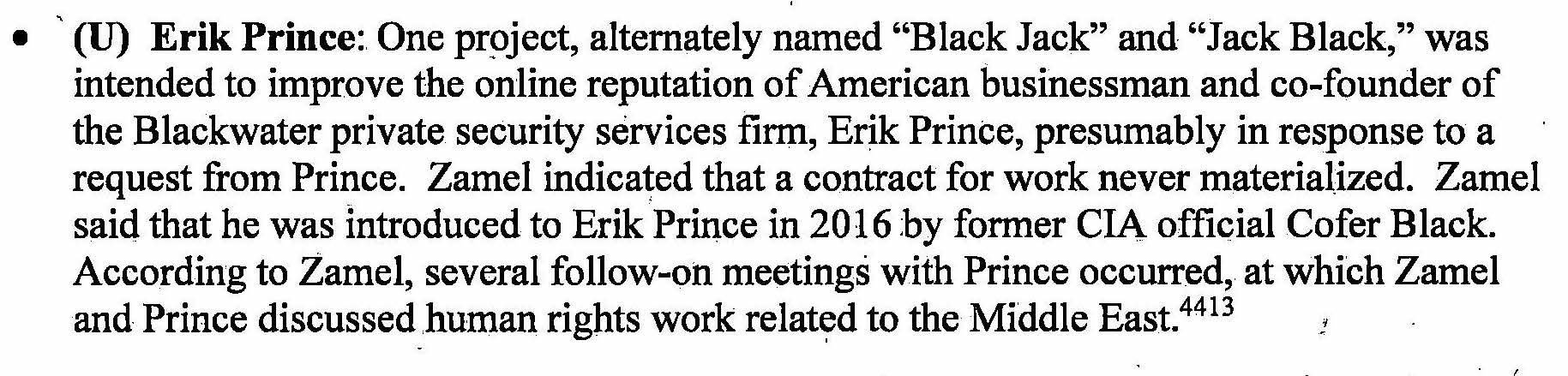Senate report on Erik Prince