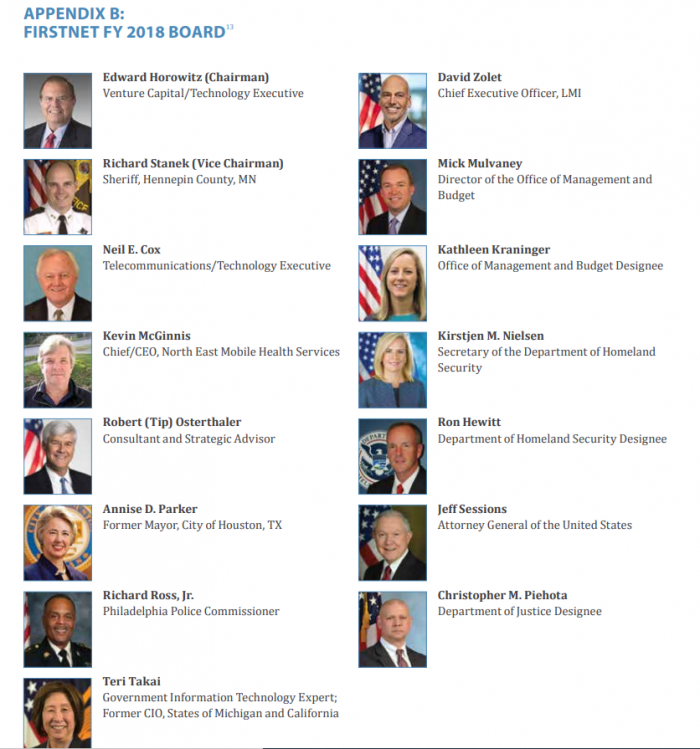 Image showing the FirstNet Board of Directors including David Zolet who was concurrently working for NSO Group