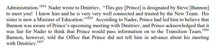 Mueller report on Erik Prince