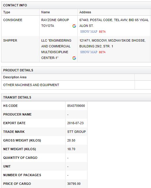 Rayzone - STT shipping record