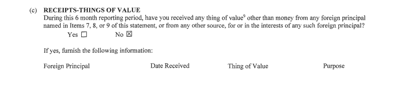 "Michael Caputo's FARA form denying receipt of any ""thing of value."""